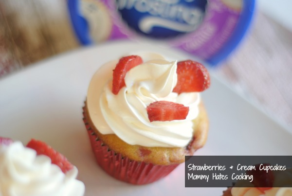 Mommy Hates Cooking Strawberries + Cream Cupcakes