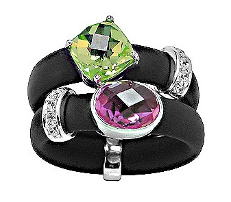 Belle Etoile double black rubber ring with one prong set green color CZ and one bezel set pink color CZ and white CZ accents.