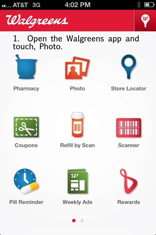 Walgreens app screen 1
