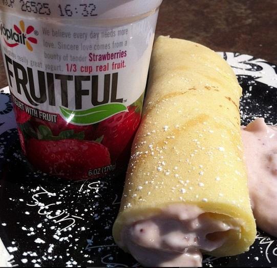 Crepes Filled with Yoplait Fruitful Yogurt