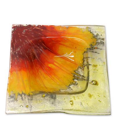 Novica Sunflower Plate