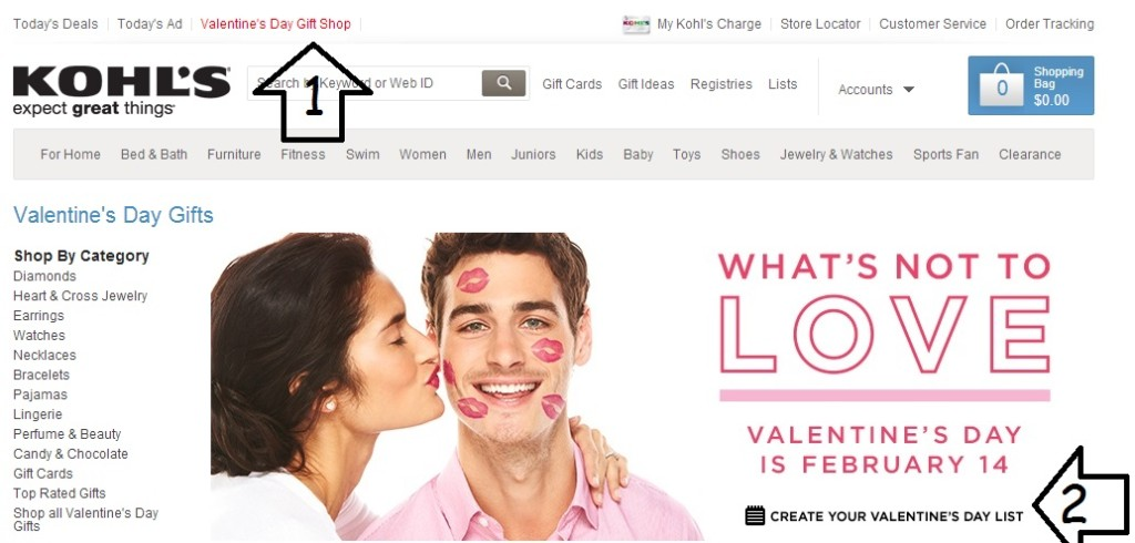 Kohl's Valentine's Day Gift Shop Wish List Screenshot A
