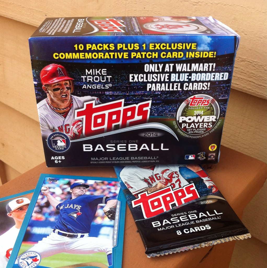 Topps cards with box sidewise