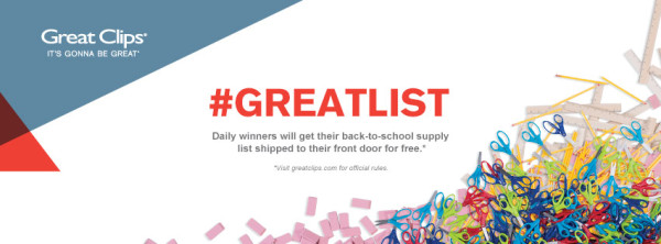 Great Clips-#GreatLists-Contest-Win Back to School Supplies-Facebook