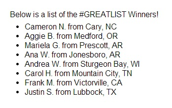 Great Clips-#GreatLists-Contest-Win Back to School Supplies-Winners List