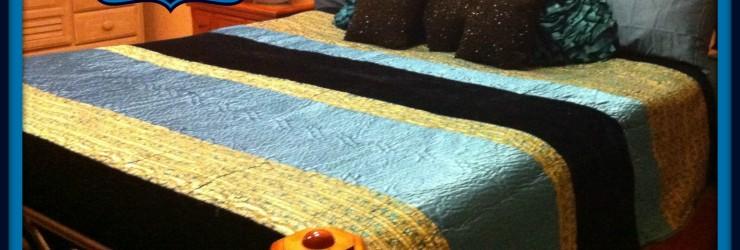 Midnight Velvet Sapphire Comforter with frame