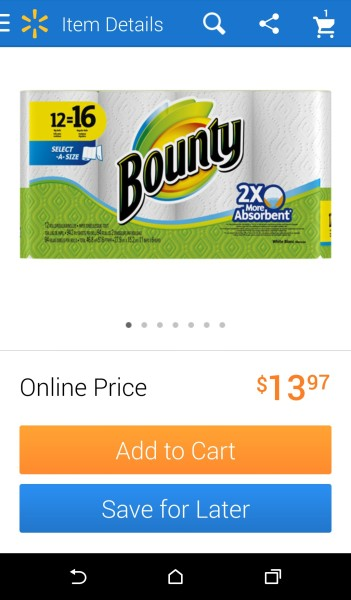 Walmart.com-P&G-Search Function-Bounty Add to Cart