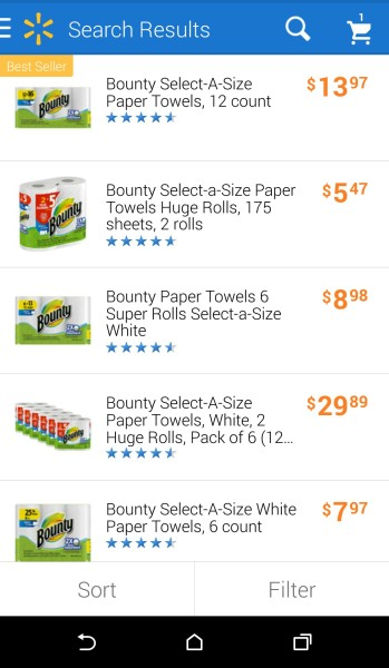 Walmart.com-P&G-Search Function-Bounty Choices
