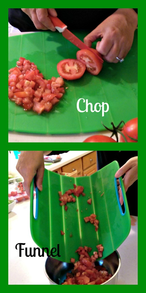 Chop Funnel Collage-Gripper Flex Cutting Board