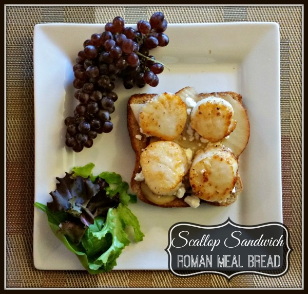 Roman Meal-#MC-Open Faced Scallop Sandwich From Above-Framed