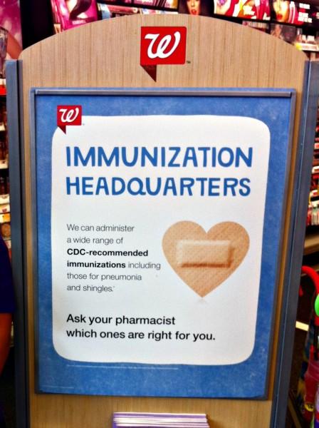 Walgreens #GetaShot Immunization Headquarters Sign