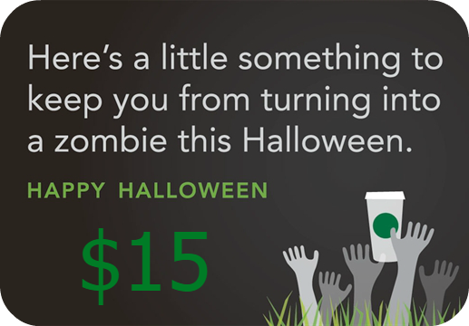 halloween starbucks gift card