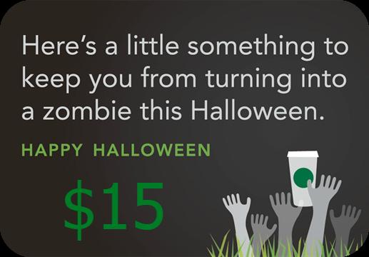 halloween starbucks gift card
