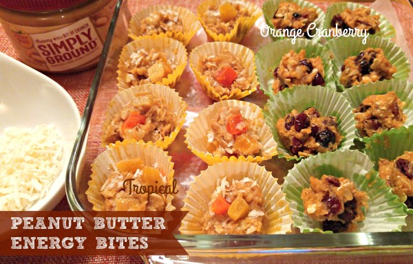 Orange Cranberry and Tropical Peanut Butter Energy Bites