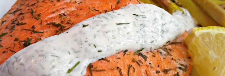 Baked Salmon with Lemon Dill Sauce with Litehouse Instantly Fresh Dill