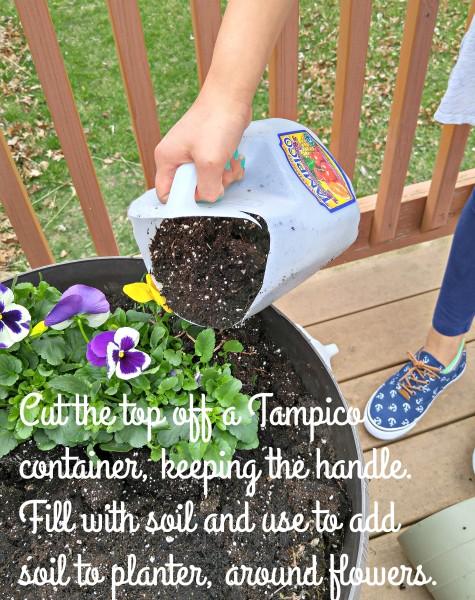 #LoveYourColorfulWorld Tampico Juice container to add dirt planting flowers