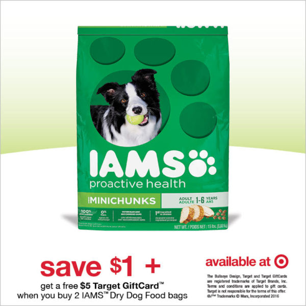 Save 1 on IAMS Dry Dog Food PLUS Get a 5 Target Gift Card When