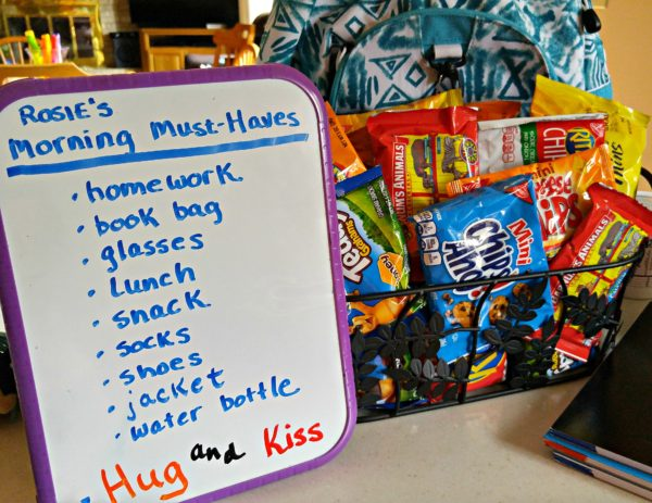Must Haves List with Basket and Notebooks #PackSnacksTheyLove #cbias
