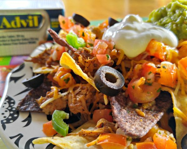 Closeup Pulled Pork North Carolina Nachos #RaceDayRelief #cbias